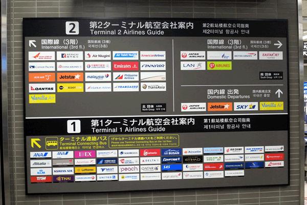 成田空港第2ターミナルの看板