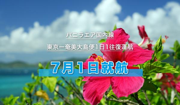 バニラエア国内線(東京ー奄美大島便1日1往復運航)