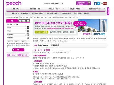 ピーチ(宿泊予約促進キャンペーン)